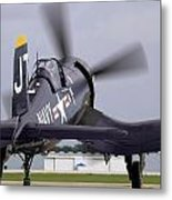 F4u-4 Corsair Prop Wash Metal Print