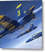 Fa-18 Hornets Of The Blue Angels Fly Metal Print