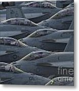 Fa18 Super Hornets Sit On The Flight Deck Of The Aircraft Carrier Uss Enterprise  Metal Print by Paul Fearn
