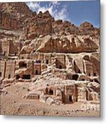 facade street in Nabataean ancient town Petra Metal Print