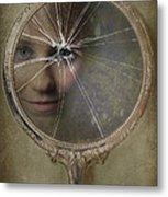 Face In Broken Mirror Metal Print