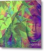 Face In The Rock With Maple Leaves Metal Print