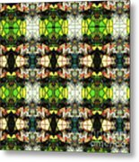 Face In The Stained Glass Tiled Metal Print