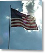 Face Of Jesus In Cloud W Flag 9 11 Remembered  Metal Print