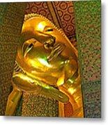 Face Of Reclining Buddha In Wat Po In Bangkok-thailand Metal Print