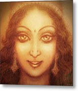 Face Of The Goddess/ Durga Face Metal Print by Ananda Vdovic
