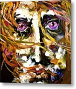 Face Series 4 Knowing Metal Print by Michelle Dommer