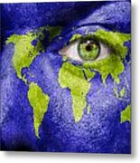 Face The World Map Metal Print
