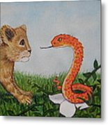 Face To Face Were A Lion And Snake Metal Print