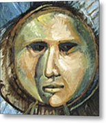 Faced With Blue Metal Print