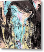 Faceless Girl With Her Crow Metal Print