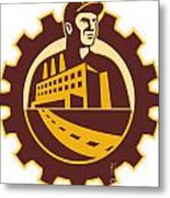 Factory Worker Mechanic With Cog Building Metal Print by Aloysius Patrimonio