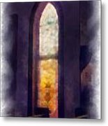 Faded Purple Stained Glass Window Photo Art Metal Print