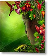 Fae In The Flower Hat Metal Print