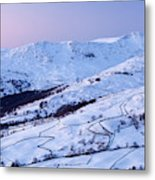 Fairfield Covered In Snow At Sunset Metal Print