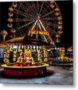 Fairground At Night Metal Print