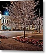 Fairhope Ave With Clock Night Image Metal Print