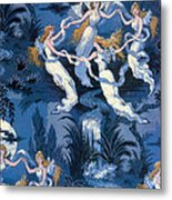 Fairies In The Moonlight French Textile Metal Print