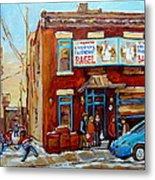 Fairmount Bagel In Winter Montreal City Scene Metal Print by Carole Spandau
