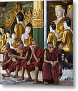 faithful Buddhist monks siiting around Buddha Statues in SHWEDAGON PAGODA Metal Print