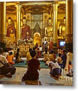 faithful Buddhists praying at Buddha Statues in SHWEDAGON PAGODA Yangon Myanmar Metal Print