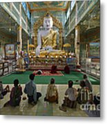 faithful Buddhists praying at sitting Buddha in golden Ponnya Shin Pagoda Metal Print