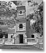 Fajardo Church And Plaza B W 3 Metal Print