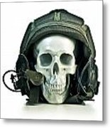 Fake Skull Wearing A Military Pilot Helmet Metal Print