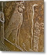 Falcon Symbol For Horus In A Crypt In Temple Of Hathor In Dendera-egypt Metal Print