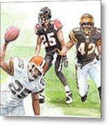 Falcons Bengals Football Watercolor Portrait Metal Print