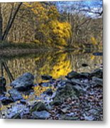 Fall Along The Scenic River Metal Print