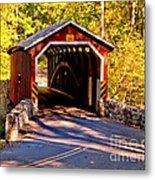 Fall At Kurtzs Mill Covered Bridge Metal Print