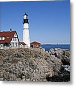 Fall At The Lighthouse Metal Print