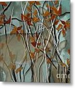 Fall Branches With Deer Metal Print