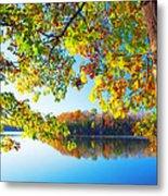 Fall By The Lake Metal Print