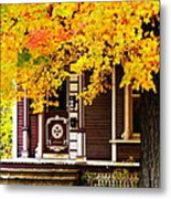 Fall Canopy Over Victorian Porch Metal Print
