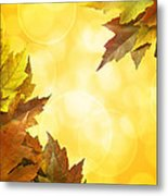 Fall Color Maple Leaves Background Border Metal Print