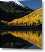 Fall Colors And Red Mountain Reflected Metal Print