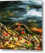 Fall Colors Stream Great Smoky Mountains Painted  Metal Print