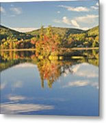 Fall Landscape On Flying Pond In Vienna Maine Metal Print