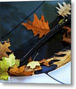 Fall Leaves On A Car Metal Print
