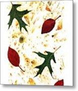 Fall Leaves On Paper Metal Print