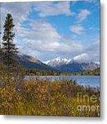 Fall Mountain Landscape Of Lapie Lake Yukon Canada Metal Print