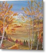 Fall Mountain Path Metal Print