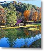 Fall Reflections At The Farm  Metal Print