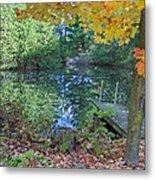 Fall Scene By Pond Metal Print