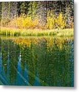 Fall Sky Mirrored On Calm Clear Taiga Wetland Pond Metal Print