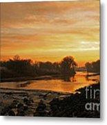 Fall Sunrise On The Red River Metal Print