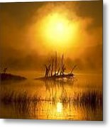 Fallen Tree In Misty Sunrise At Metal Print