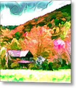 Falling Farm Blended Art Styles Metal Print